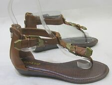 "Summer 1"" Wedge Tan Womens Shoes Roman Gladiator Sexy Sandals Size 6.5"