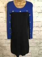 Calvin Klein Womans Black Blue Long Sleeved Pencil Dress Sz PM Petite UK 12 US 8