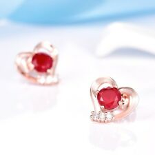 Lady Girls Bling Charms Red Garnet Crystal Rose Gold Filled Heart Stud Earrings