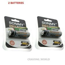 2 x 18650 Battery 3.7V High Capacity Rechargeable Batteries For Torch Flashlight
