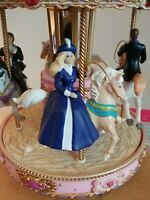 Vintage 1998 Mr. Christmas Barbie Holiday Go Round Lighted Musical Carousel