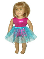 "Hot Pink Leotard Teal Tutu fits American Girl 18"" Doll Clothes Ballet Dance"