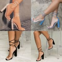 New Transparent Ladies Women Clear Pointy Toe High Heel Pump Sandal Shoes Size