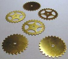 "MIXED Lot 12 BRASS Watch GEARS~ 25mm/1"" ~ SteamPunk ~ 6 Solid + 6 Open USA-Made"