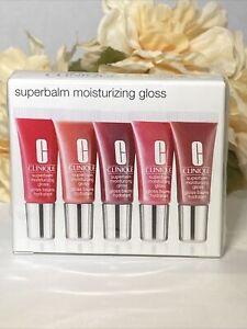 CLINIQUE Superbalm Moisturizing Lip Gloss Travel Set 5 5ml Ea Sealed NIB Free Sh