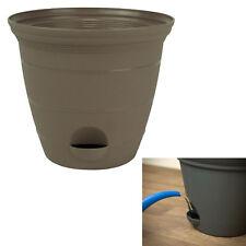 "Sandalwood Plastic Self Watering Flower Plant Pot Garden Planter 6, 8, 10 or 12"""