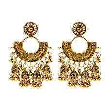 Women Bohemia Gypsy Indian Exaggeration Trend Big Fan Carved Drop Earrings Gift