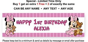 Party Banner Sign Childs 1st Birthday - BABY MINNIE MOUSE, Personalised Disney