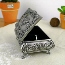 Metal Alloy Vintage Flower Carved Jewelry Box Trinket Case Ring Box Size S