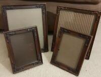 """Vintage lot 4 Wood PICTURE FRAMES (2) 8x10"""" (2) 5x7"""" photo art deco"""