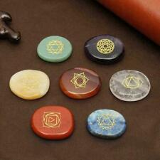 7Pcs/Set Engraved Spiritual Healing Meditation Palm Stones Chakra Reiki L5T2