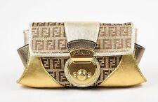 Gorgeous Authentic Fendi GOLD SILVER MONOGRAM ZUCCHINO COMPILATION CLUTCH