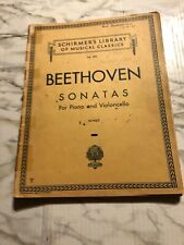 Beethoven Sonatas for Piano Cello Violoncello Schirmer's Library Sheet Music