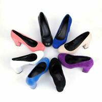 Womens Pump Round Toe High Chunky Heels Platform Faux suede Wedding Court Shoes