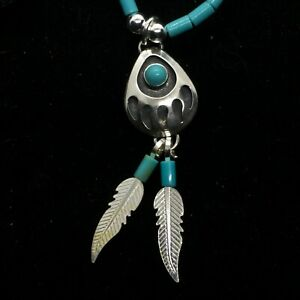 Bear Paw Necklace- with Turquoise & Feathers -  Sterling Silver