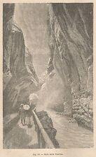 A1776 Gola della Tamina - Animata - Xilografia - Stampa Antica 1895 - Engraving