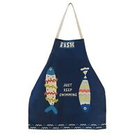 Cute Cartoon Apron For Woman Fish Pattern Japanese Blue Cotton Kitchen Apron