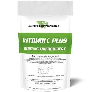 Vitamin C 1000mg Hochdosiert - 220 Tabletten Hagebuttenextrakt + Bioflavonoiden
