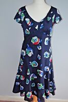 LADIES PER UNA FLORAL M&S FIT AND FLARE DRESS 12 LONG Flippy 40s LANDGIRL