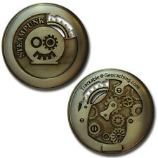 Two Inch Steampunk Gears Geocoin For Geocaching - With Cut-Outs