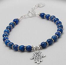 "7.5"" Solid Sterling Silver Royal Blue Lapis Lazuli Bead Chamsa Bracelet 10.3g"