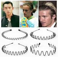 Men Women Sports Wave Hair Band Metal Black Hairband Headband Aliceband Unisex