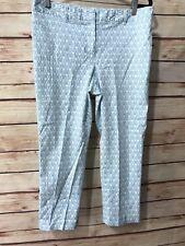 Charter Club Womens Size 10 Modern Teal Print Flat Front Capri Crop Pants
