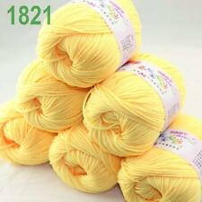 Sale 6x50g balls Soft Cashmere Silk wool Hand Knitting baby Yarn Banana 21