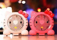 Hello Kitty Portable Rechargeable USB Desktop Low Noise Cooling Double Fan-Pink