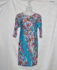Bob Mackie 3/4 Sleeve Paisley Floral Printed Knit Dress Size S Turquoise