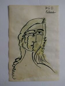 PABLO PICASSO Hand Painted. Dated and Signed. Watercolor on Paper. 1955.