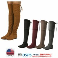 Women's Over The Knee Flat Boots Lace Up Suede Leather Boots