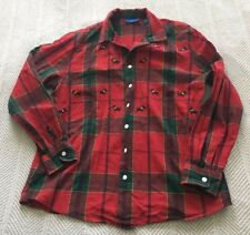 Karen Scott Sport Size Small Cotton Red Plaid Button Down with Embroidered DOGS