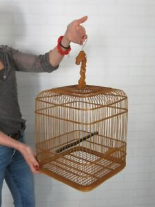 Vintage Cage Eastern Cottage Wood For Birds Manufacture Chinese Xx Century