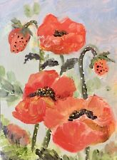 ACEO Precocious Poppies  Original Floral Oil Painting By K Fuller ATC 2.5