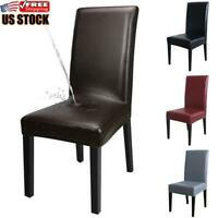 1-8PCS Dining Chair Cover PU Leather Stretch Waterproof Slipcover Home Decor