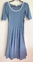 NWT Lularoe Heather Blue White Trim Cotton Nicole Style Dress Size Small