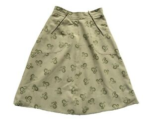 Vintage 80's Pale Green Patterned Cotton Skirt Retro 6