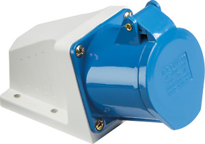 Knightsbridge IN012 IP44 Angled Surface Mount 32A Socket 2P+E (Blue)
