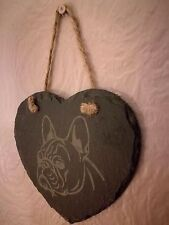 Slate Hanging Heart Shaped French Bulldog Plaque (A)