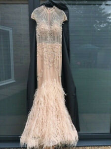 Prom Wedding Occasion Dress - Red Carpet Ready size 8 blush pink beaded feathers