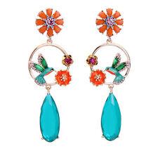 Colorful Flower Circle Cute Enamel Birds Hollow Earrings For Women ed01424b