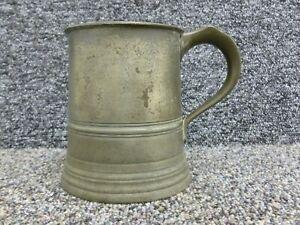 """Antique Pewter 1 pint Tankard James Yates 4.5"""" inches height"""