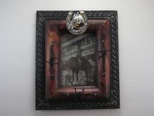 Western Silver Horse Head Barbed Wire Wood Metal 4 x 6 Picture Frame Home Decor