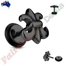316L Surgical Steel Black Ion Plated Fleur De Lis  Fake Ear Plugs Tunnel