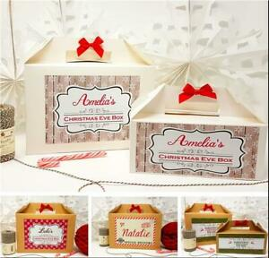 PERSONALISED CHRISTMAS EVE GIFT BOX XMAS FAVOUR PRESENT WITH BOW