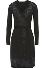 Diane von Furstenberg DvF Leandra knit lace black wrap dress sz. P / XS