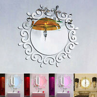 3D Feather Mirror Wall Sticker Home Bedroom Decor Decal Mural Acrylic Art DIY
