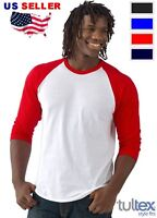 NEW Plain 3/4 sleeve Baseball Raglan T-shirt Mens Sports tee