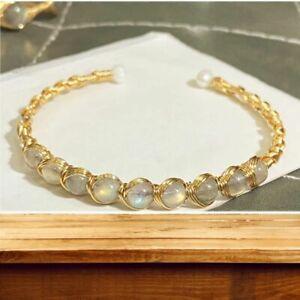 Labradorite Moonstone 14K Gold Wire Wrap Bracelet